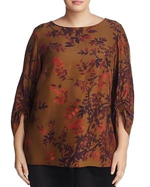Lafayette 148 New York Plus Elisio Floral Print Silk Top