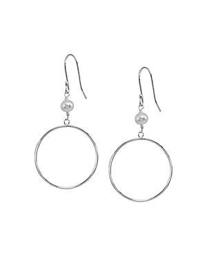 Aqua Cultured Freshwater Pearl & Circle Drop Earrings - 100% Exclusive