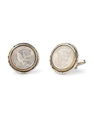 John Varvatos Collection Sterling Silver & Brass Artisan Metals Mercury Dime Cufflinks