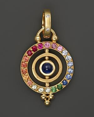 Temple St. Clair 18k Gold Mini Tolomeo Pendant With Multi-colored Sapphires And Diamonds