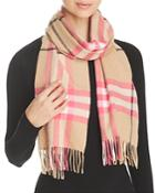 Burberry Fluoro Giant Check Cashmere Scarf