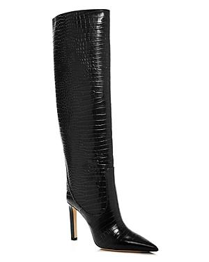 Jimmy Choo Women's Mavis 100 Croc-embossed High-heel Tall Boots