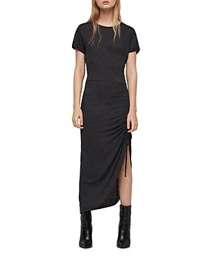 Allsaints Filor Ruched Drawstring Maxi Dress