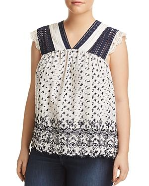 Lucky Brand Plus Embroidered Sleeveless Top