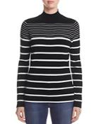 Marled Striped Funnel Neck Sweater