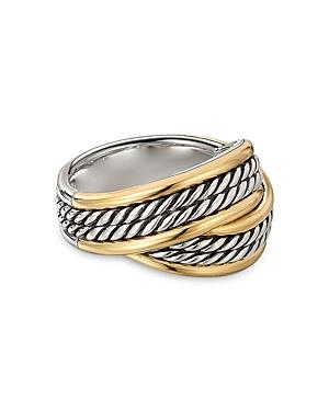 David Yurman Sterling Silver Dy Origami Ring With 18k Yellow Gold