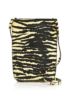 Ganni Tiger Striped Recycled Leather Crossbody Bag