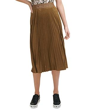 Dkny Pleated Faux Suede Midi Skirt