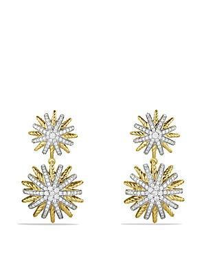 David Yurman Starburst Double-drop Earrings With Diamonds In Gold
