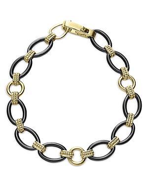 Lagos 18k Yellow Gold Black Caviar Black Ceramic Oval Link Bracelet - 100% Exclusive
