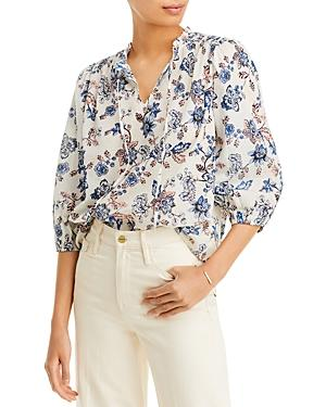 Aqua Floral Print Cotton Top - 100% Exclusive