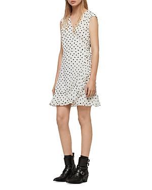 Allsaints Krystal Polka Dot Wrap Dress