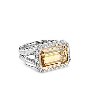 David Yurman Novella Statement Ring With Champagne Citrine, Diamonds & 18k Rose Gold