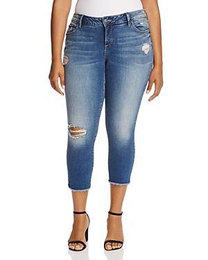 Slink Jeans Frayed Hem Crop Jeans In Caralyn Medium Wash