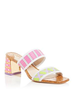 Sophia Webster Women's Celia Woven Block Heel Slide Sandals