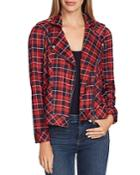 Vince Camuto Plaid Knit Moto Jacket
