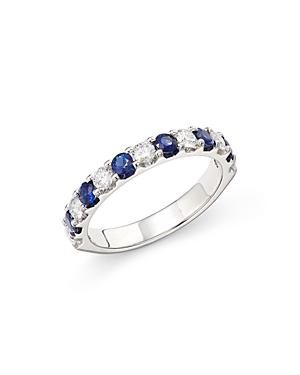 Bloomingdale's Sapphire & Diamond Eternity Band In 14k White Gold - 100% Exclusive