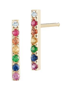 Mateo 14k Yellow Gold Rainbow Gemstone & Diamond Bar Stud Earring