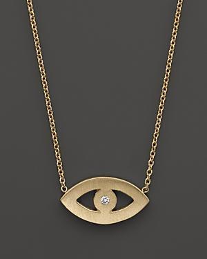 Zoe Chicco 14k Yellow Gold Evil Eye Diamond Necklace, 16
