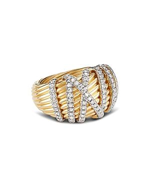 David Yurman 18k Yellow Gold Helena Dome Ring With Diamonds