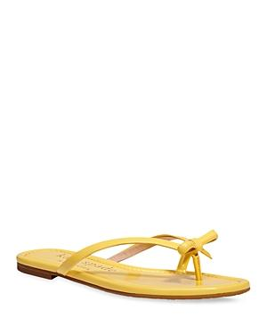 Kate Spade New York Women's Petit Bow Patent Leather Thong Slide Sandals