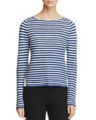 Eileen Fisher Petites Striped Boat Neck Sweater