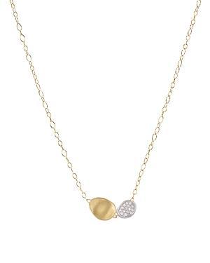 Marco Bicego 18k White And Yellow Gold Lunaria Two Pendant Diamond Necklace, 16.5