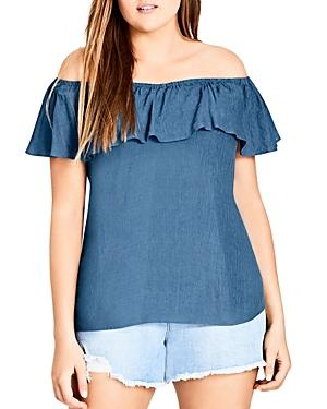 City Chic Plus Off-the-shoulder Ruffle-trim Top