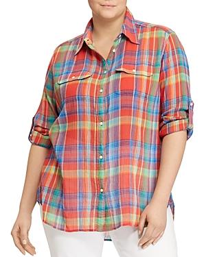 Lauren Ralph Lauren Plus Madras Plaid Utility Shirt