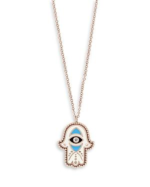 Bloomingdale's Diamond Accent Hamsa Pendant Necklace In 14k Rose Gold, 15 - 100% Exclusive
