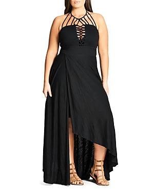City Chic Plus Strappy High/low Maxi Dress