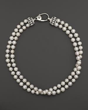 Lagos Sterling Silver Luna Freshwater Pearl Double Strand Necklace, 18