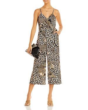 Aqua X Mary Katrantzou Leopard Print Wrap Jumpsuit - 100% Exclusive