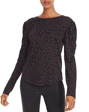 Lna Puff-sleeve Leopard Print Tee