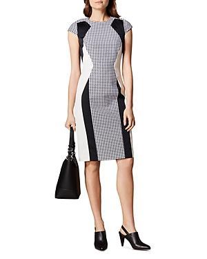 Karen Millen Color-block Gingham Sheath Dress