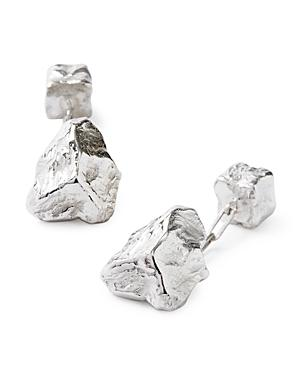 Lanvin Rhodium Plated Rock Cufflinks
