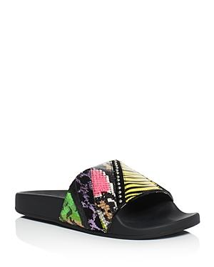 Marc Jacobs Cooper Punk Patchwork Embellished Pool Slide Sandals