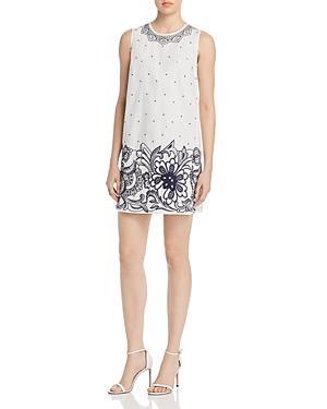 Paule Ka Embroidered Cotton Shift Dress