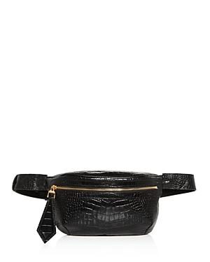 Max Mara Banane Croc-embossed Leather Belt Bag