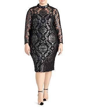Rachel Roy Plus Nadia Foil Print Jacquard Dress