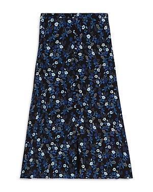 The Kooples Floral Print Midi Skirt