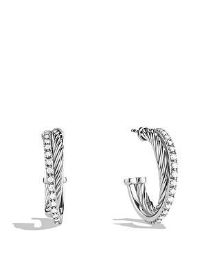 David Yurman Crossover Small Hoop Earrings With Diamonds