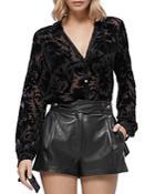 Paige Leandrah Velvet-burnout Shirt
