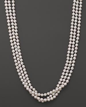 14k Yellow Gold 3 Row Cultured Akoya Pearl Necklace, 17