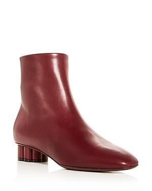 Salvatore Ferragamo Women's Molfetta Leather Floral Heel Booties