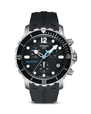 Tissot Seastar Men's Quartz Black Watch With Rubber Strap, 45mm