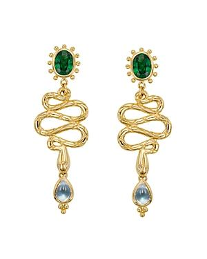 Temple St. Clair 18k Yellow Gold Serpent Drop Earrings With Royal Blue Moonstone, Tsavorite And Diamonds