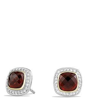 David Yurman Earrings With Garnet And Diamonds With 18k Gold