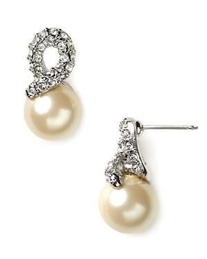 Carolee Elegant Bride Pearl And Pave Earrings