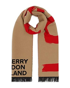 Burberry Love And Logo Wool Silk Jacquard Scarf